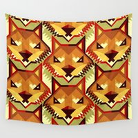 yetiland Wall Tapestries featuring The Bold Wolf pattern by Yetiland