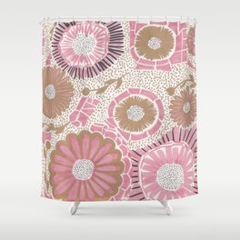 Pink & Gold Flowers Shower Curtain