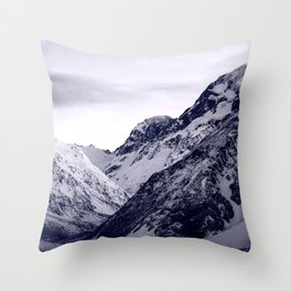 Snow-Covered Rocky Mountains Covered By Moody Sky Throw Pillow