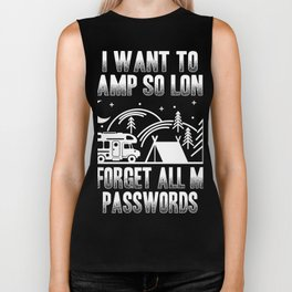 Funny quote camping camp so long I forget password Biker Tank