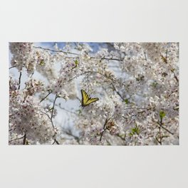 Swallowtail Butterfly in Cherry Blossoms Rug