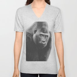 Silverback Gorilla (black + white) Unisex V-Neck