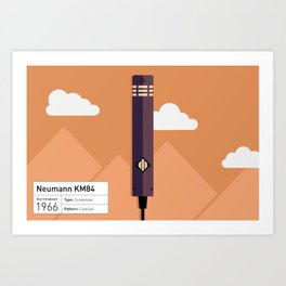 Neumann KM84 Microphone Illustration Print Art Print