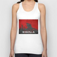 godzilla Tank Tops featuring Godzilla by WatercolorGirlArt