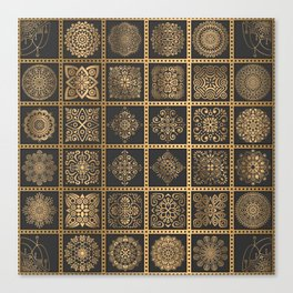 Copper Mandala Quilt Canvas Print
