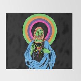 Blacklight Jesus Throw Blanket