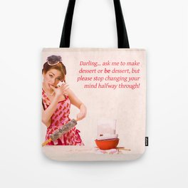 """Make Up Your Mind"" - The Playful Pinup - Baking Housewife Pinup by Maxwell H. Johnson Tote Bag"