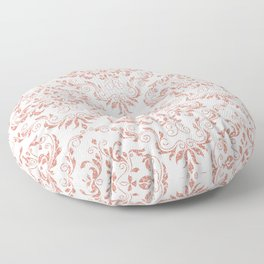 Rose Gold Glitter and White Damask Floor Pillow