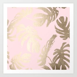 Simply Tropical Palm Leaves White Gold Sands on Flamingo Pink Art Print