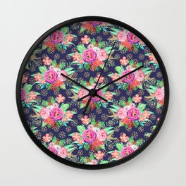 Pretty Christmas floral and snowflakes design Wall Clock