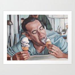 Forrest Gump eats Ice Cream Art Print