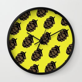 Yellow Pinecone Pattern Wall Clock