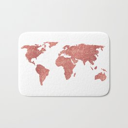 World Map Rose Gold Glitter Bath Mat