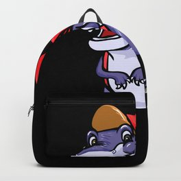 Dinosaur With Backpack Gift Idea Design Motif Backpack