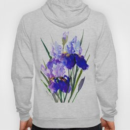 Garden Irises, Blue Purple Floral Design Hoody