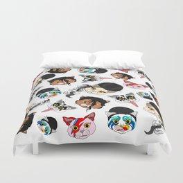 Pop Cats - Pattern on White Duvet Cover