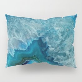 Blue agate marble faux druse crystal quartz gem gemstone geode mineral stone photograph hipster Pillow Sham