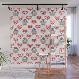 Cute happy cheerful little baby penguins cartoon, red floral hearts hearts seamless white pattern Wall Mural