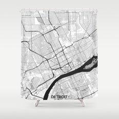 Detroit Map Gray Shower Curtain