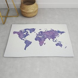 Purple World Map 02 Rug
