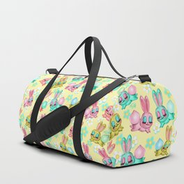 Bunnies and Daisies on Yellow Duffle Bag