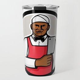 African American Butcher Circle Mascot Travel Mug