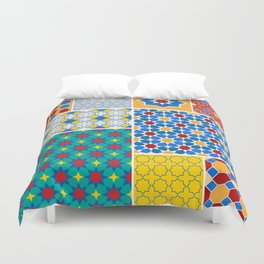 Moroccan pattern, Morocco. Patchwork mosaic with traditional folk geometric ornament. Tribal orienta Duvet Cover