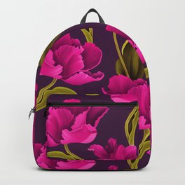 Bold & Bright Hot Pink Colored Parrot Tulip Flowers on Dark Background Backpack