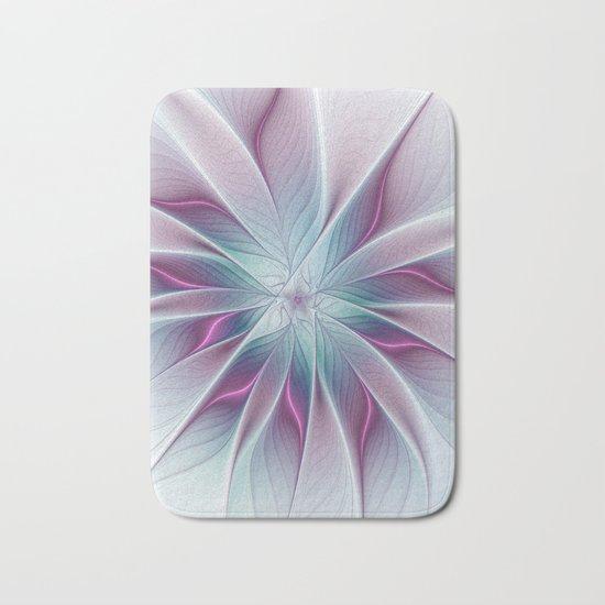 Floral and Luminous, abstract Fractal Art Bath Mat
