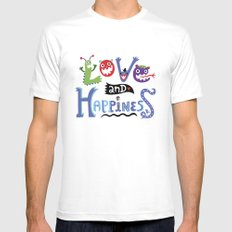 Love and Happiness MEDIUM White Mens Fitted Tee
