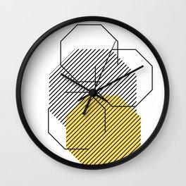 Geometric - Hexagon, Black & Yellow Wall Clock