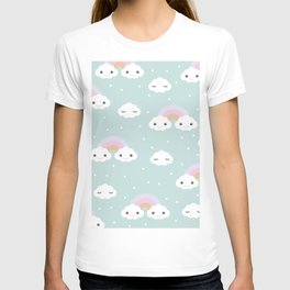 Kawaii breeze summer rainbow clouds blue sky T-shirt