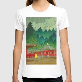 Vintage Japanese Woodblock Print Rainy Day At The Shinto Shrine Tall Pine trees Yellow Rain Coat T-shirt