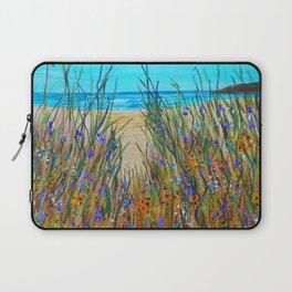 Beach flowers, impressionism ocean art, wildflowers on the beach Laptop Sleeve