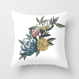 Pastel Peonies Watercolor Flowers and Leaves Throw Pillow