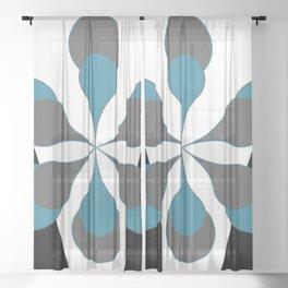 Mid-Century Modern Art 1.4B Grey Aqua Flower Sheer Curtain