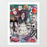tim burton Art Prints featuring TIM BURTON TEA PARTY by ●•VINCE•●