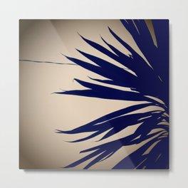 Navy Palm Leaves Metal Print