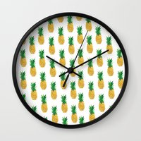 pineapples Wall Clocks featuring Pineapples by millymay2