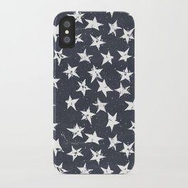Linocut Stars - Navy & White iPhone Case