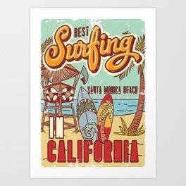 The Best Surfing – Santa Monica Beach Art Print