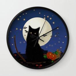 Halloween cat, Halloween, cat, moon, pumpkin, Halloween pumpkin, Halloween night, bats Wall Clock