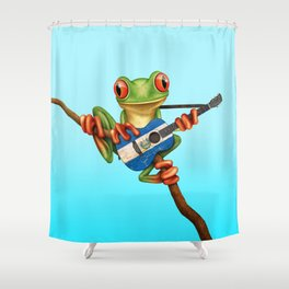 Tree Frog Playing Acoustic Guitar with Flag of El Salvador Shower Curtain