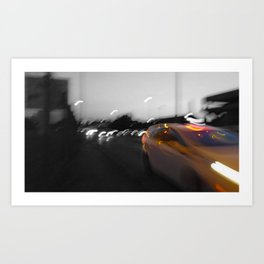 Paris abstract black and white with color Art Print