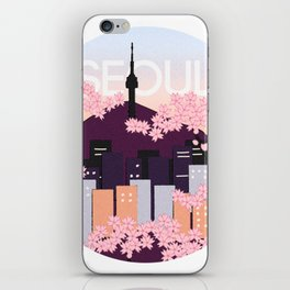 Seoul Tower with Cherry Blossoms Woodblock Style Souvenir Print iPhone Skin
