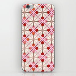 Crosses & Dots (red + pink) iPhone Skin