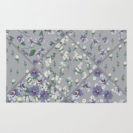 drawing of seamless patchwork pattern with viola flowers Rug