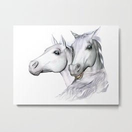 White Horses of the Camargue Metal Print