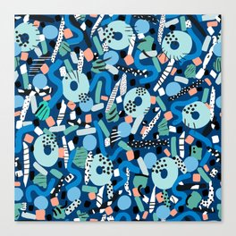 CIRCLES IN MOTION - GREEN/ BLUE brush stroke Canvas Print