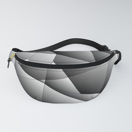 Exclusive strict gray pattern of chaotic black and white fragments of metal, glare and ice floes. Fanny Pack